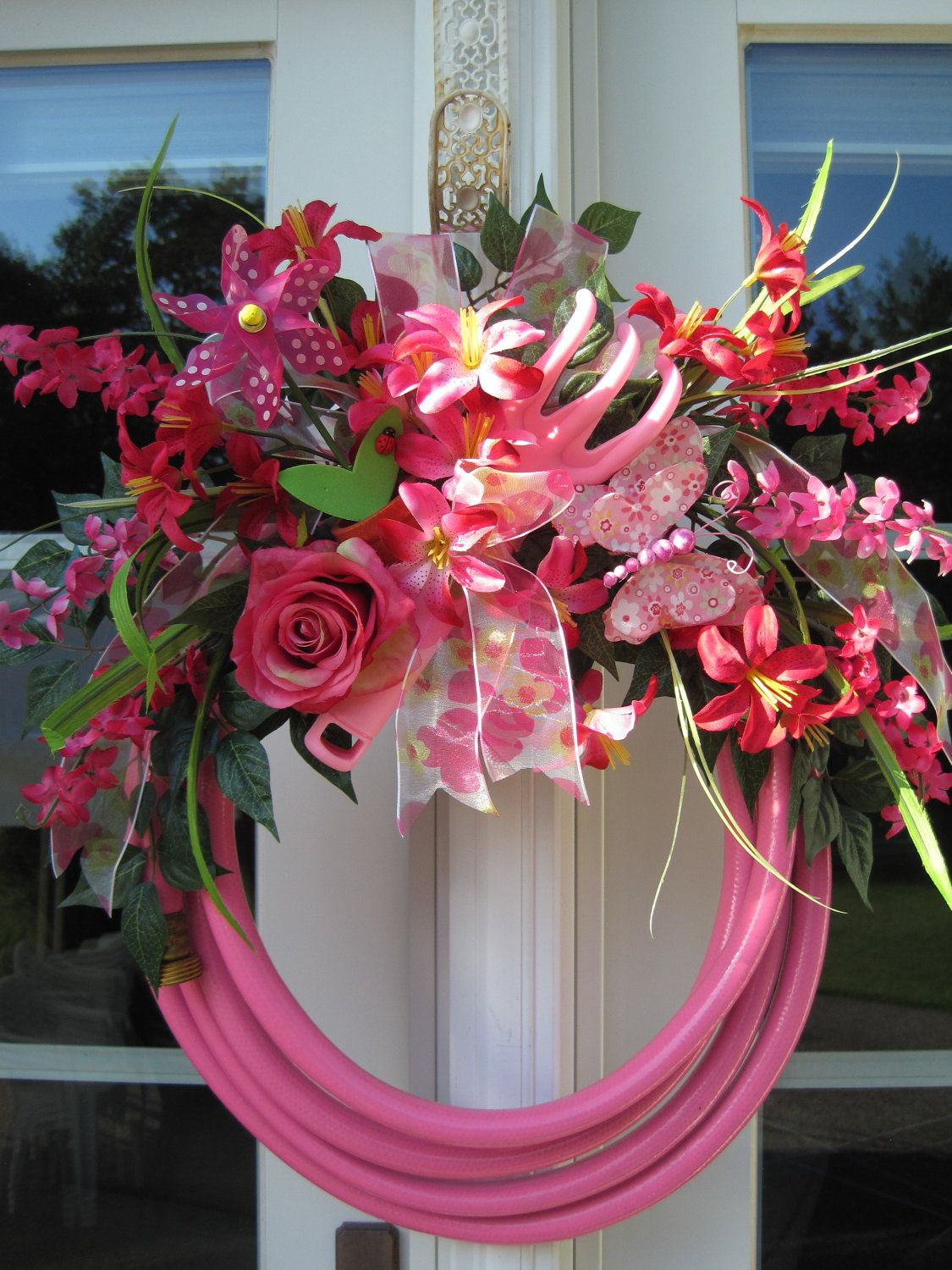 Beautiful PINK GARDEN HOSE Wreath  Garden Tool  Butterfly  Windmill  Pink Rose  Summer