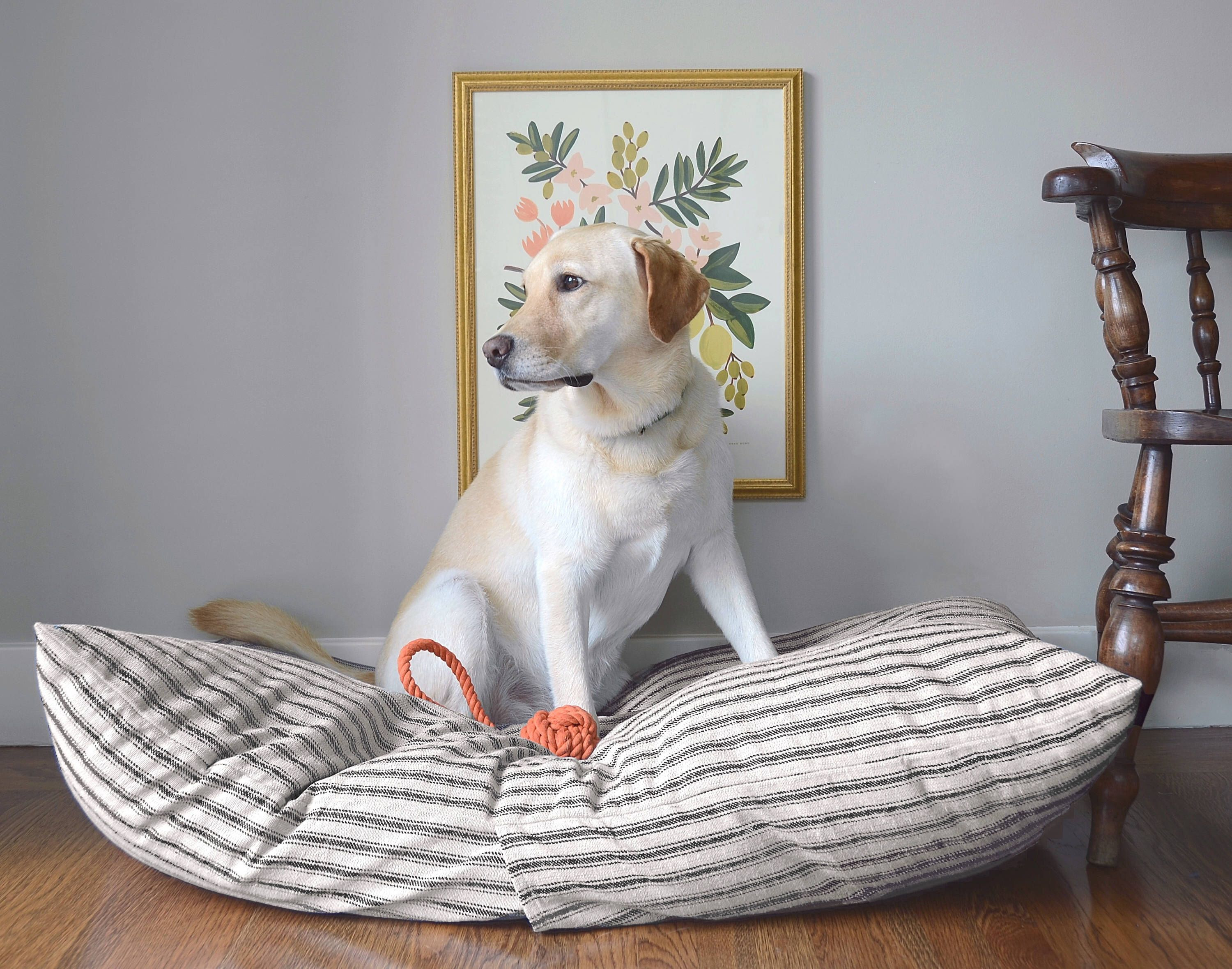 Ticking Stripe dog bed cover // Black and tan striped pet