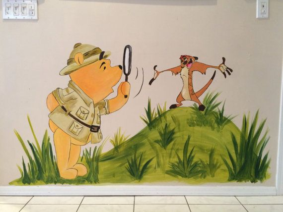 Hand Painted Wall Murals Disney Safari Winnie the Pooh and Timon The Lion King