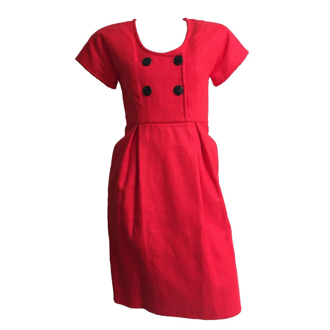 c195f31ce Geoffrey Beene 70s Red Linen Dress With Pockets Size 4. | From a collection  of