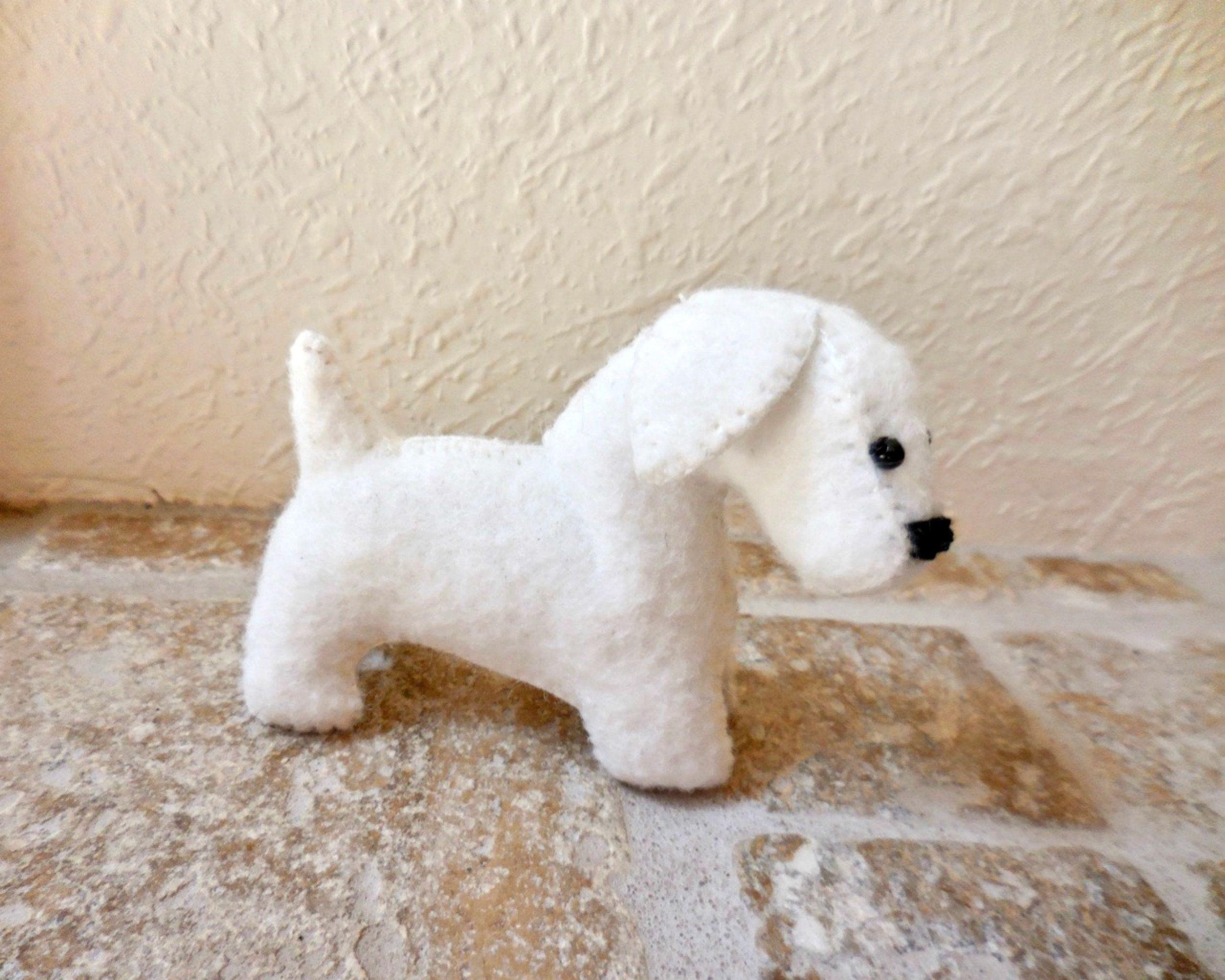Small White Dog Stuffed Puppy Dog Soft Toy Felt Stuffed Animal White Dogs Animals Dogs And Puppies [ 2000 x 2500 Pixel ]