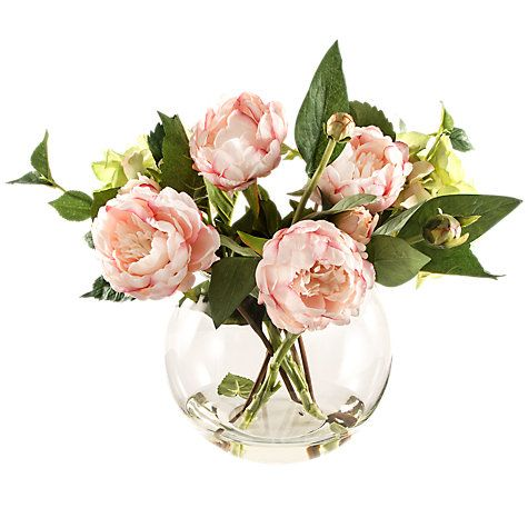 Buy Peony Dark Pink Peonies In Fish Bowl Vase Online At Johnlewis.com