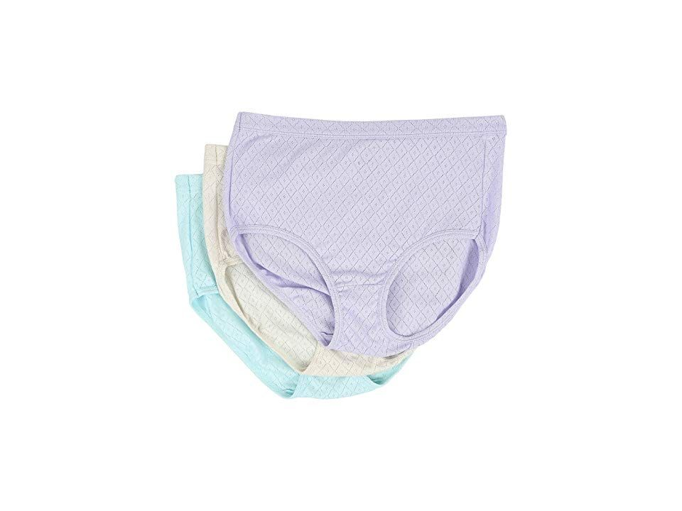 23a7903ce671 Jockey Elance Breathe Brief 3-Pack (Violet Veil/Sandy Shimmer/Minty Mist)  Women's Underwear. A comfortable classic. Full-coverage brief is fabricated  from ...