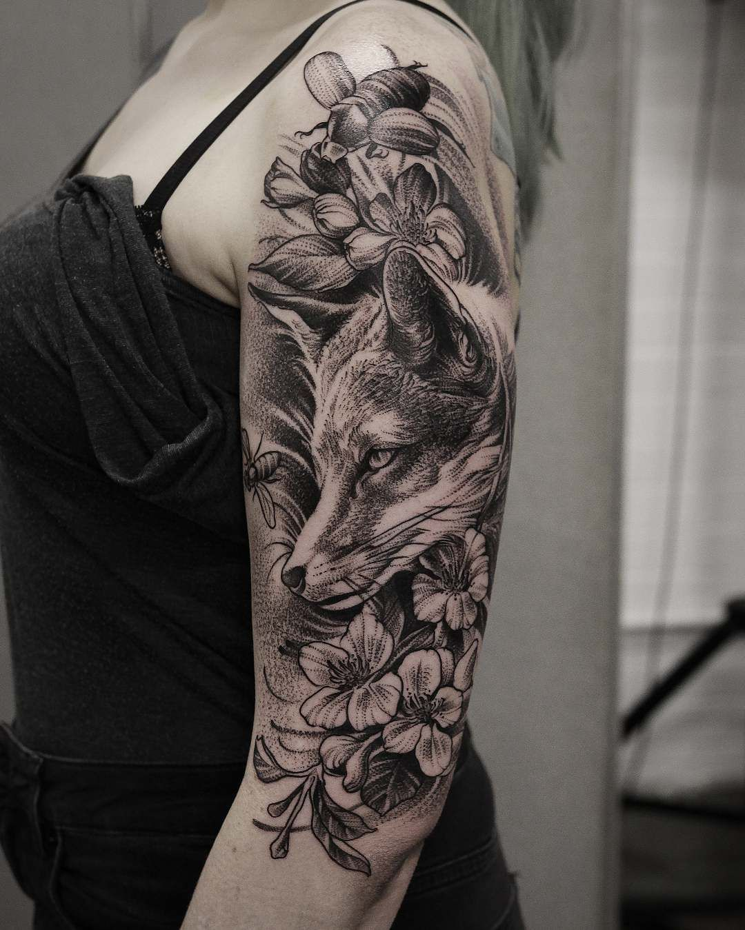 dotwork fox tattoo on halfsleeve tattoo ideas