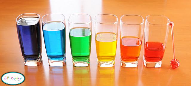X: xylophone, colored water filled to different levels in glass cups