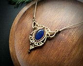 Macrame necklace with Lapis Lazuli * Bohemian Jewelry Design * Handcrafted Natural Beauty *