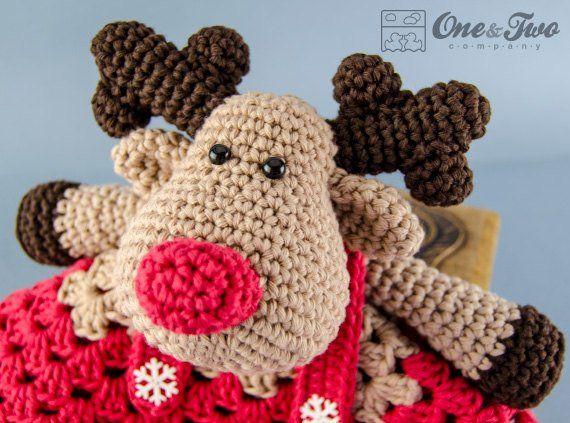 Lovey Crochet Pattern - Reindeer Moose PDF Security Blanket - Tutorial Digital Download DIY - Reindeer & Moose Lovey - Dou Dou - Baby Toy #crochetsecurityblanket