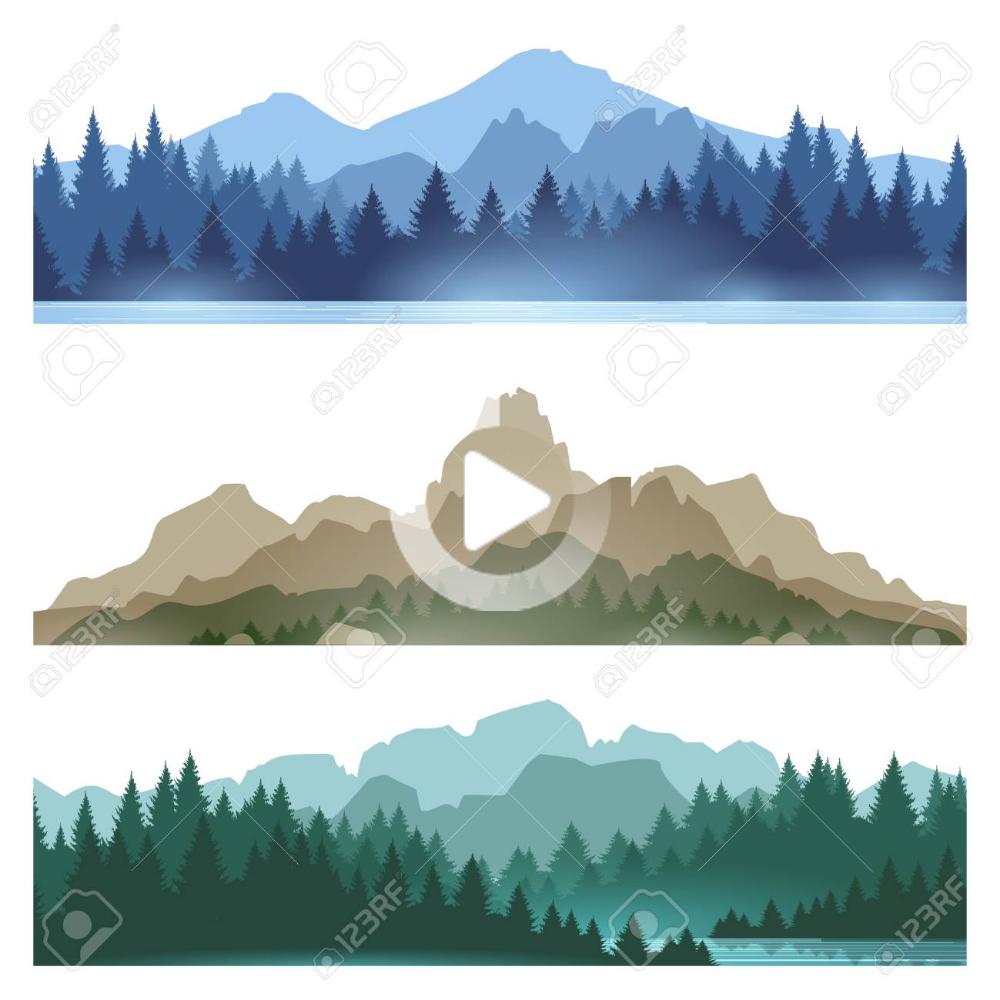 Stock Vector Pine Tree Art Forest Silhouette Mountain Landscape