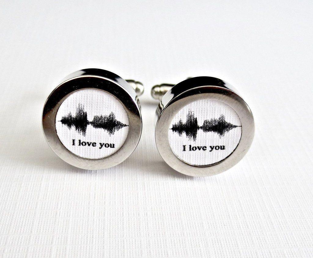 Sound wave art cufflinks paper st anniversary font a black