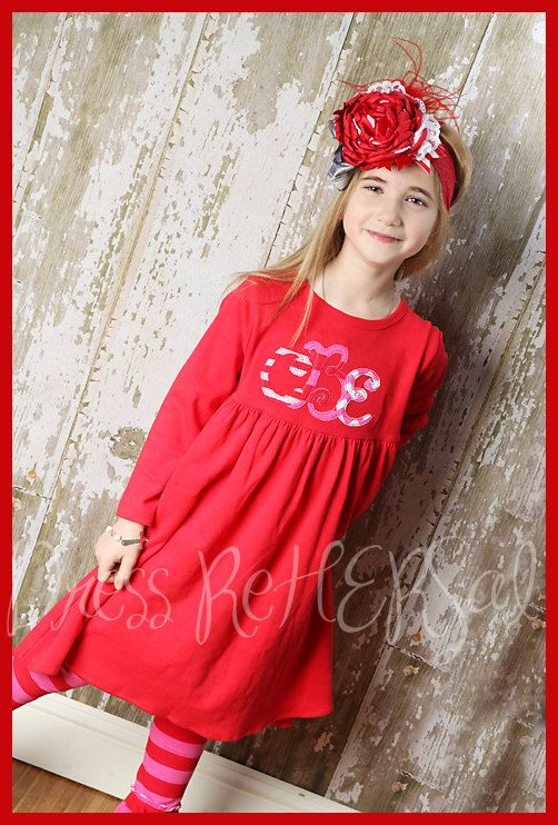 Valentines day red cotton babydoll dress with monogram
