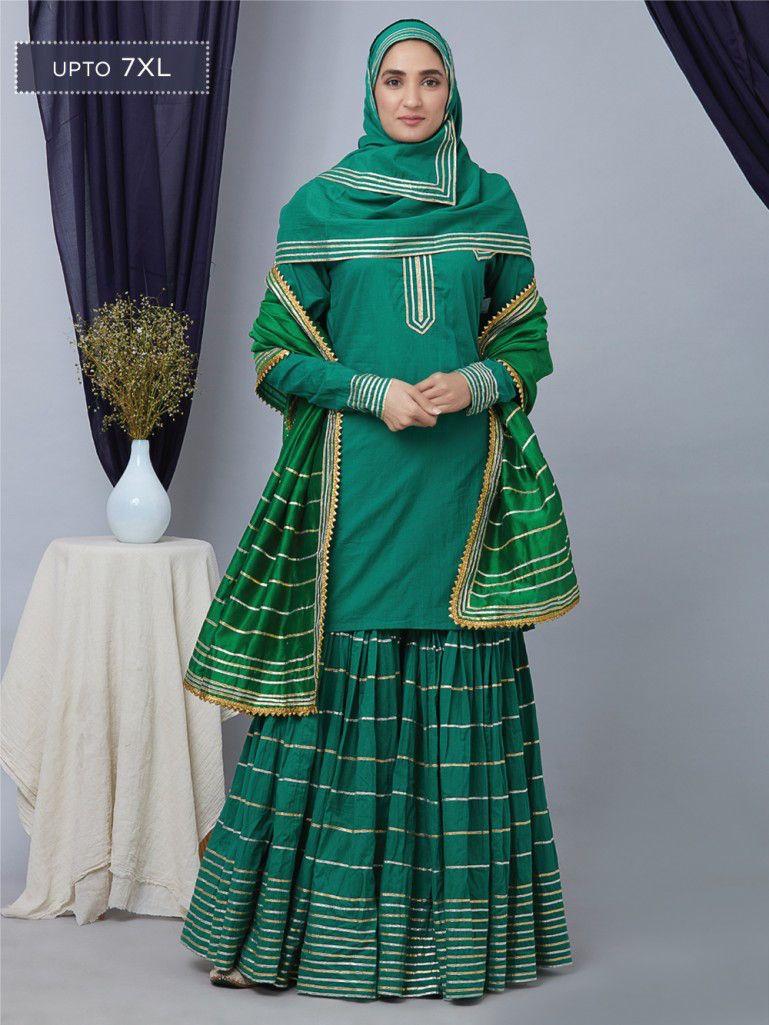 Green gota cotton gharara set with chanderi dupatta and