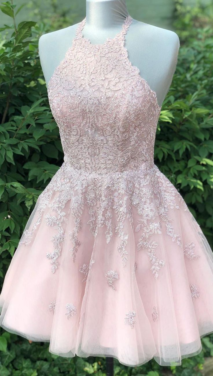 pretty pink lace homecoming dress #lacehomecomingdresses