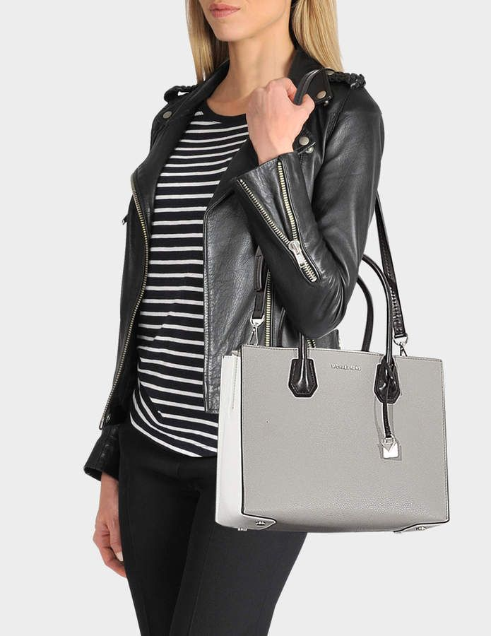 bfb25279b80c MICHAEL Michael Kors Mercer Large Convertible Tote Bag in Pearl Grey, Optic  White and Black Grained Leather