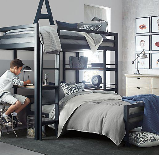 industrial loft study bunk bed with 1 desk | bunk beds
