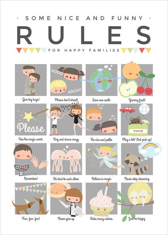 Affiche r gles de vie la maison pour enfants apanona rules for kids family - Affiche regle de la maison ...