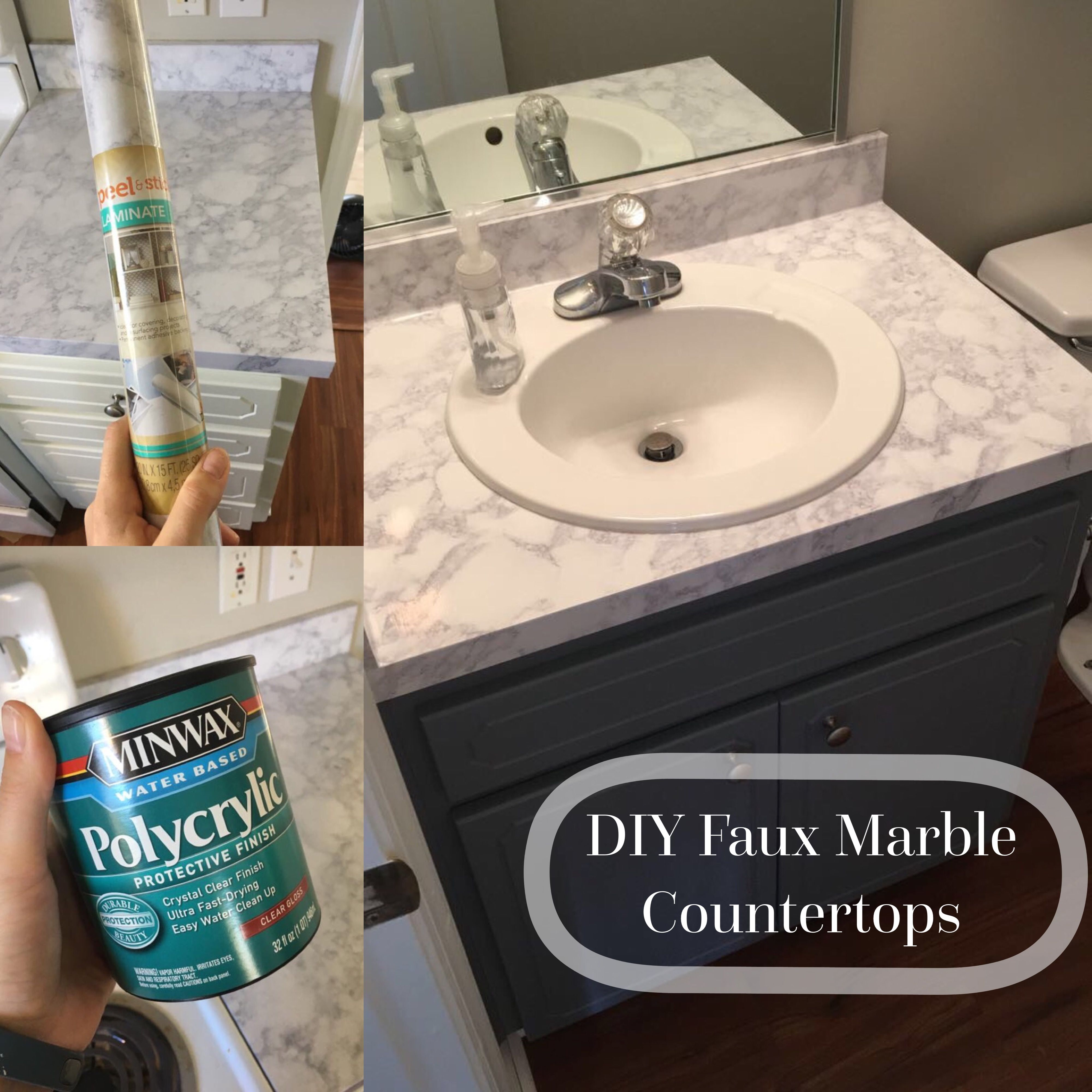 Diy Fauxmarble Countertops Peel And Stick Laminate Sealed With