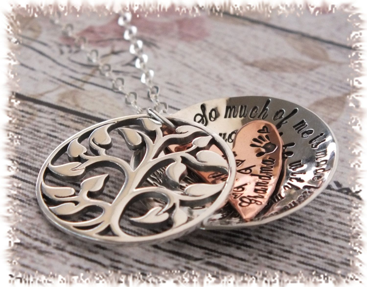 Handstamped grandma locket necklace treeoflife custom