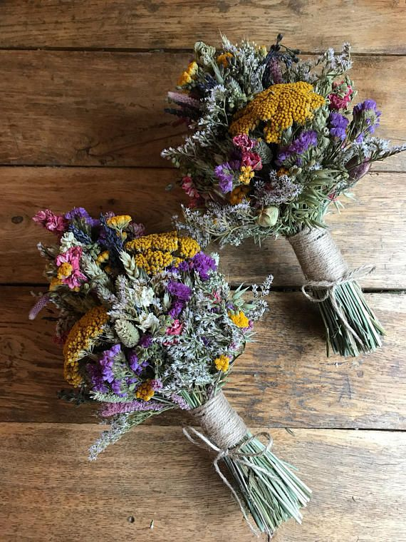 Rustic Wild Flower Bouquet. Dried Natural Wedding Flowers for Bride, Bridesmaid Flowergirl by Florence and Flowers. Wheat, Nigella, Lavender #flowerbouquetwedding