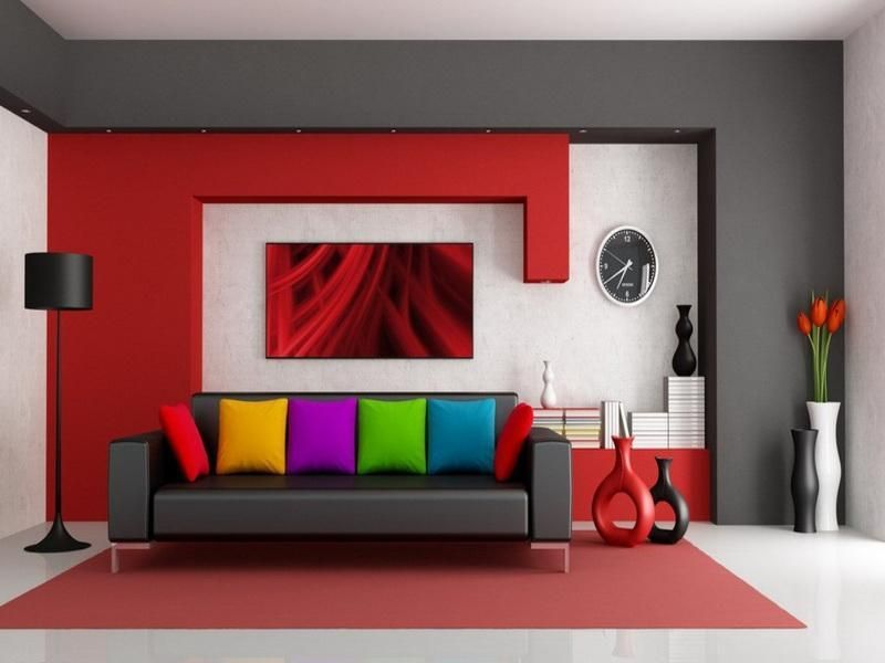 Modern And Abstract Red And Grey Living Room With White Marble Floors Living  Room Decor