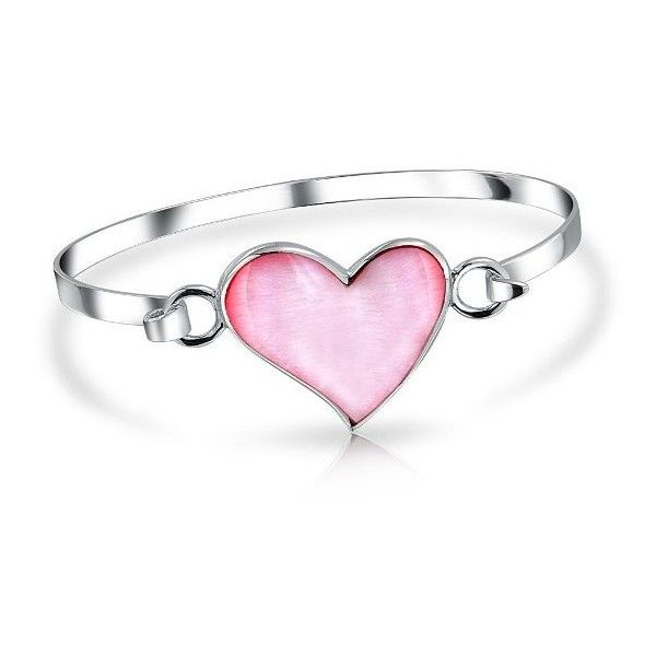 Bling Jewelry Pink Mother of Pearl Love Heart Sterling Silver Bangle... (€44) ❤ liked on Polyvore featuring jewelry, bracelets, rings, pink, accessories, mother of pearl bracelet, pink bracelet, sterling silver bangles, heart bracelet and pink bangle bracelet