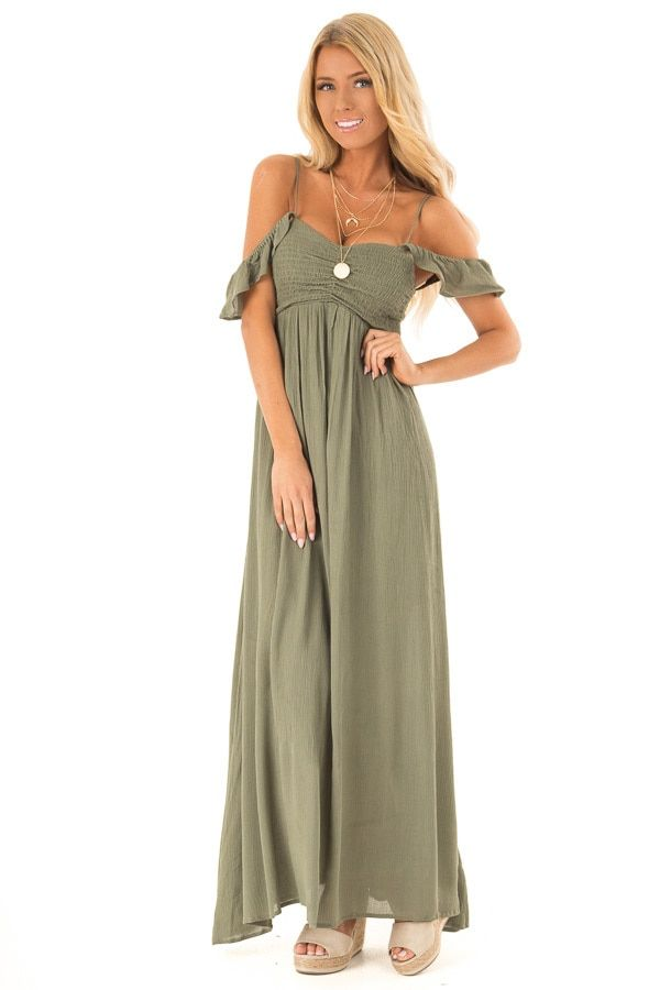 d3562213fb0 Olive Smocked Halter Maxi Dress with Criss Cross Back Detail in 2019 ...