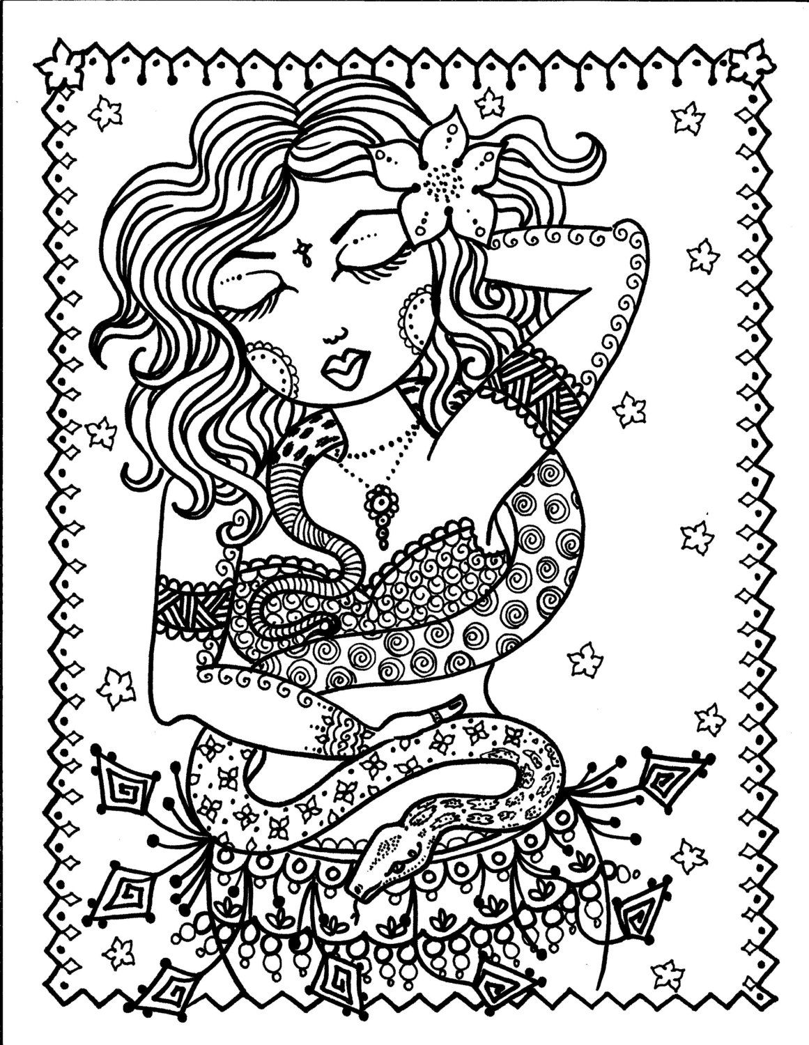 5 pages Belly Dancer coloring pages Digital files Instant Download ...