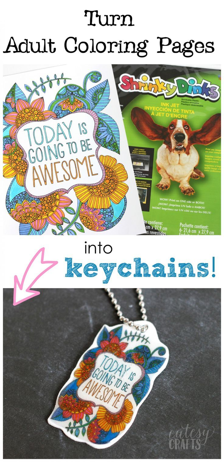 Adult Coloring Page Keychains | Keychains, Tutorials and Craft