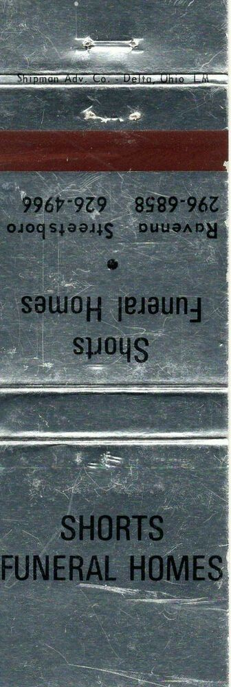 Matchbook Cover Shorts Funeral Homes Matchbook Funeral Home