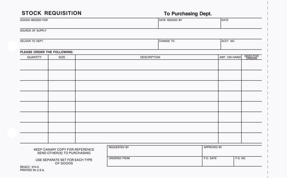 3 Part Carbonless Stock Requisition Forms Quotation Format