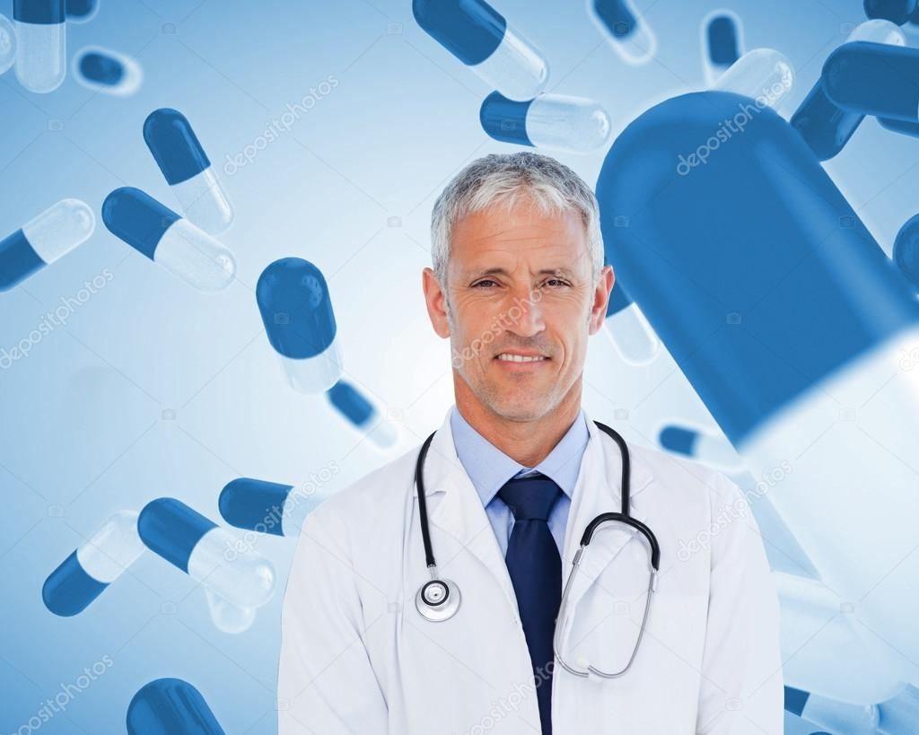 Smiling doctor with stethoscope Stock Photo , AD, doctor