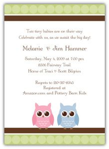 Twin Owls Baby Shower Invitation Boy Girl Craft Ideas Pinterest