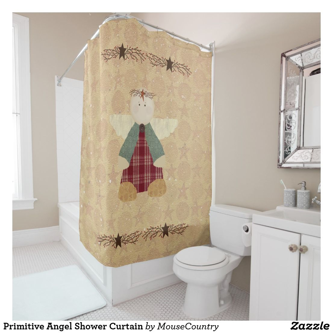 Primitive Angel Shower Curtain