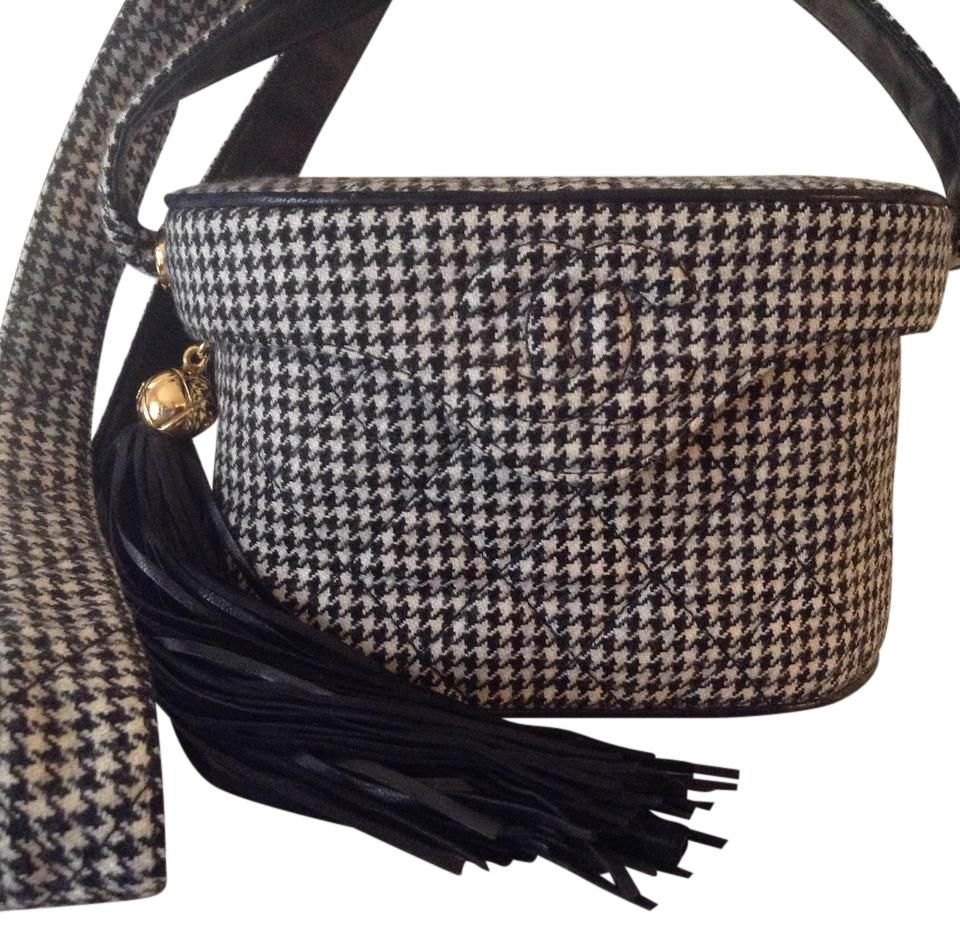 Chanel Super Rare Vintage Houndstooth Binocular Black White Cross Body Bag