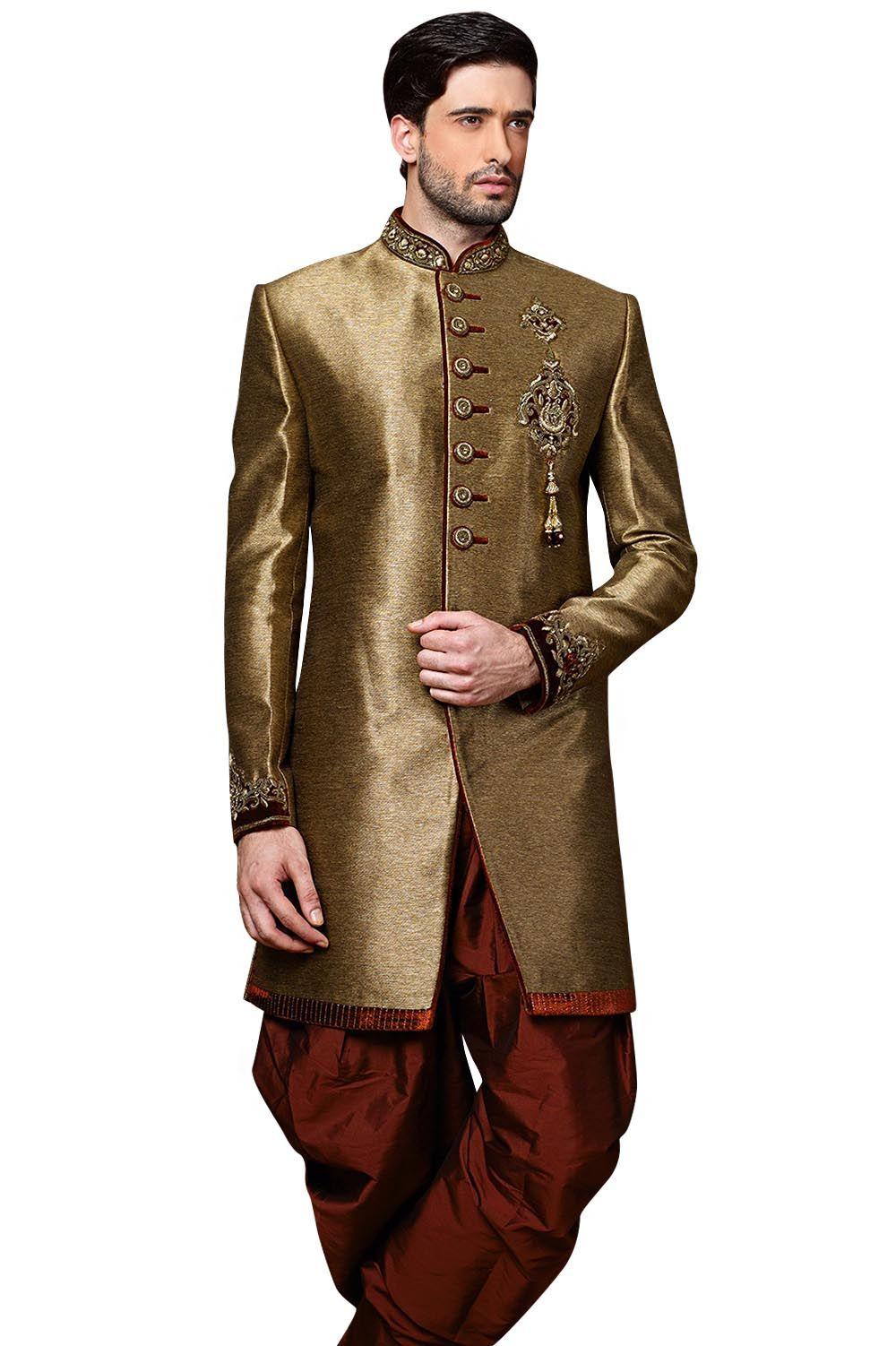 6d8136934e Copper Golden Indo Western Sherwani for Royal Wedding #designer #exclusive  #trendy #sherwani