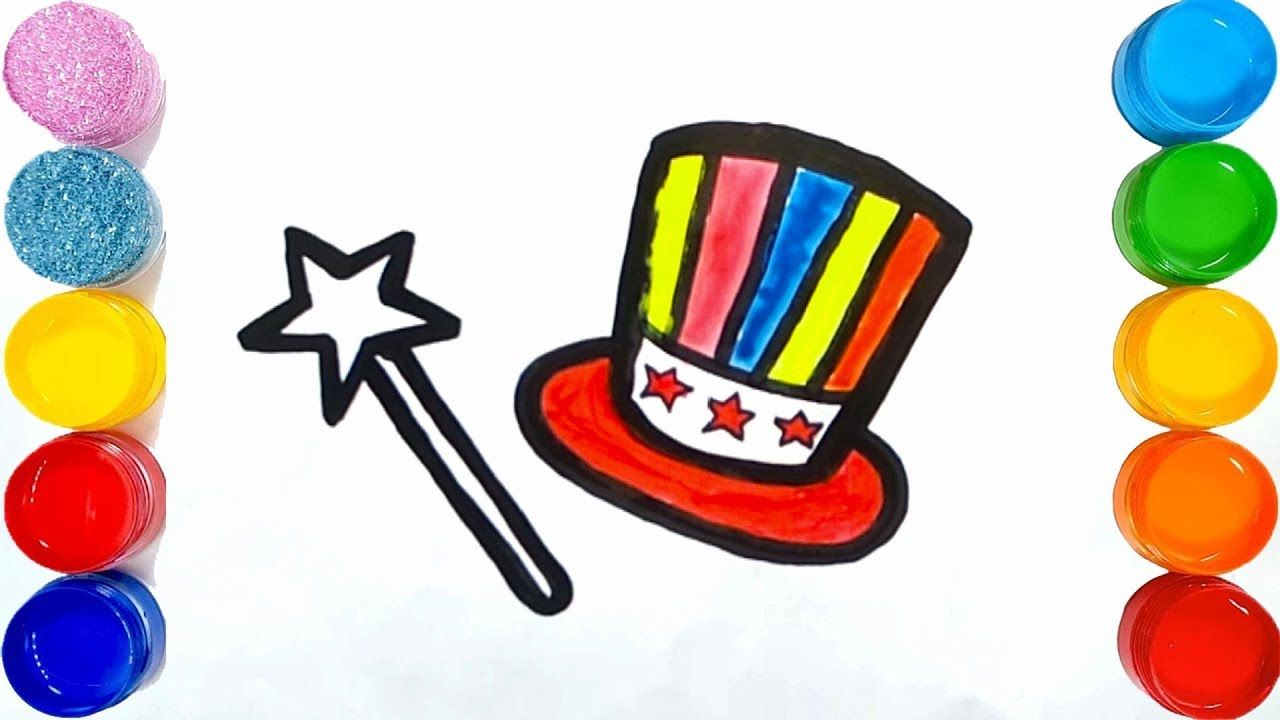 Coloring Magic Set For Kids How To Draw Magic Hat Magic Stick