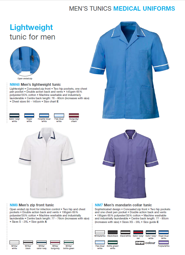 ac1e2f09595 Men's lightweight tunic, Men's zip front tunic full brochure can be  downloaded here: http