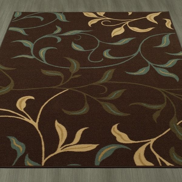 Ottomanson Ottohome Contemporary Leaves Design Modern Chocolate