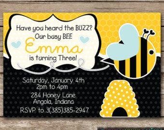 Bee Birthday Invitation Downloads | ... Bumble Bee Birthday Party Digtial  PRINTABLE 4  Invitation Downloads