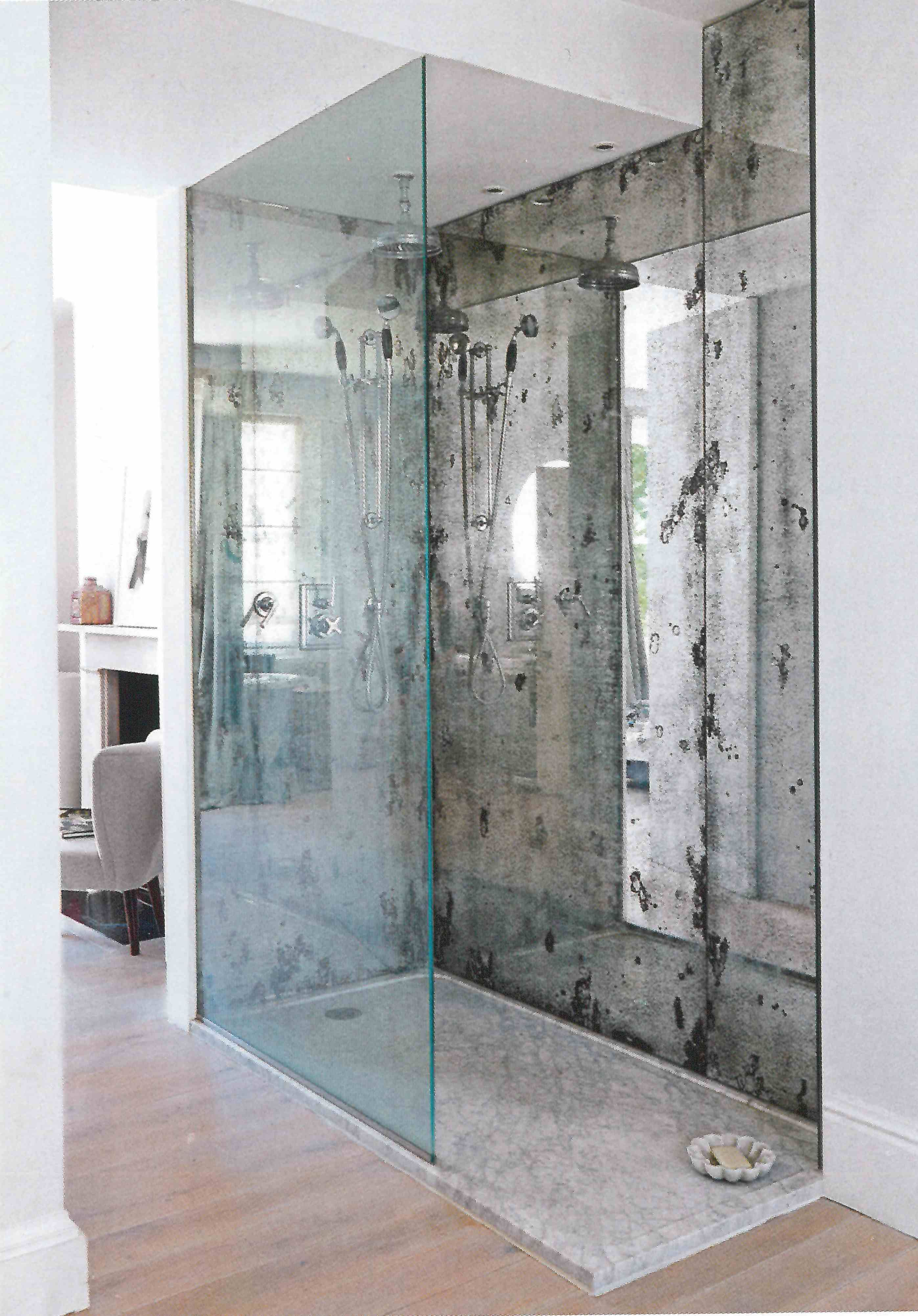 "Antique glass splashback shower. Dominic Schuster | ""LESS ..."
