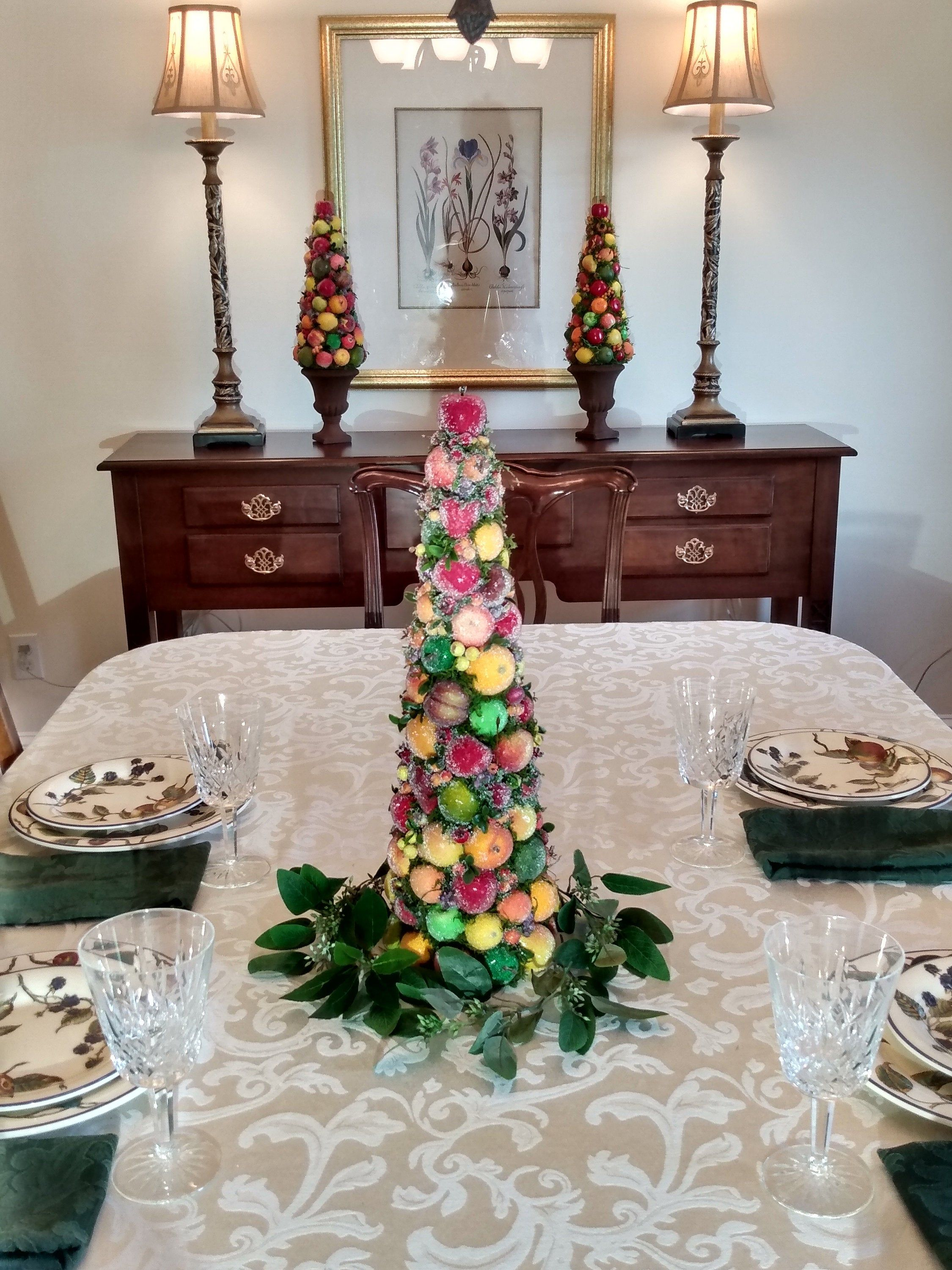Spring Topiary Sugared Fruit Dining Table Centerpiece Dining Table Centerpiece Christmas Centerpieces Christmas Topiary