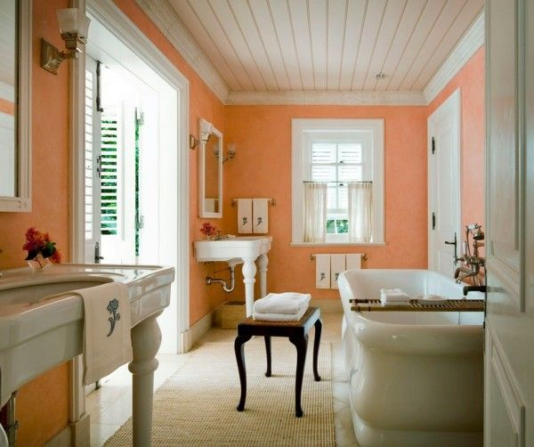 wandfarbe apricot badezimmer weiße elemente Wandgestaltung - fototapete für badezimmer