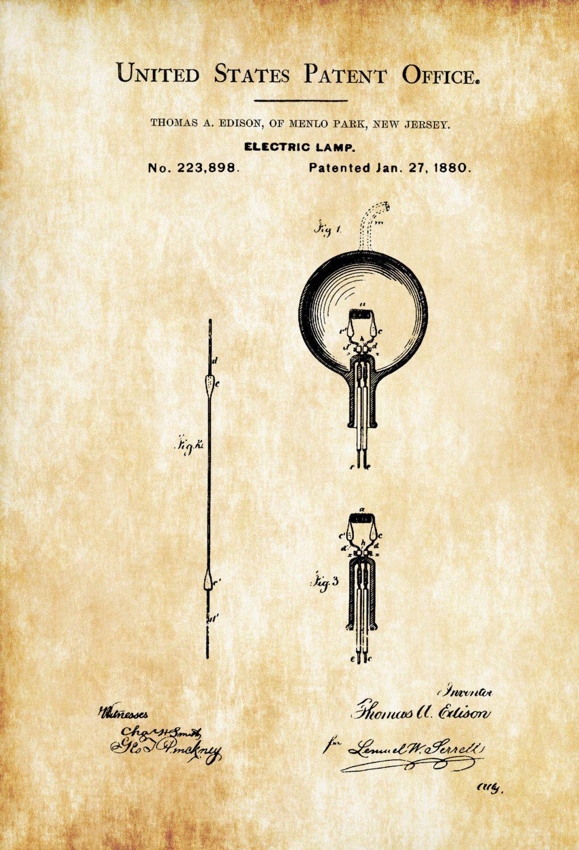 Light Bulb Patent Print – Decor, Kitchen Decor, Restaurant Decor ...