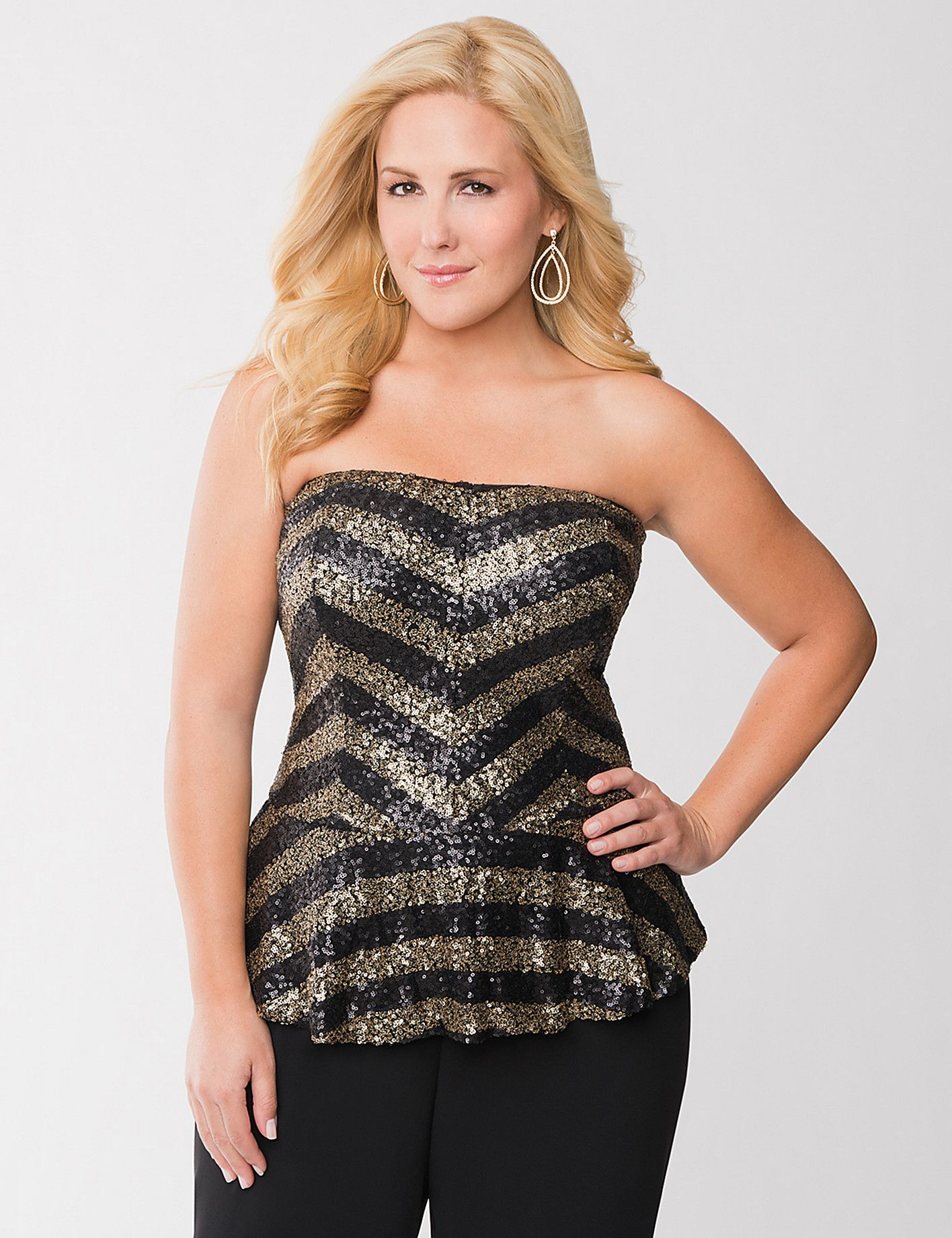 Sequin bustier top New years eve outfits, Plus size