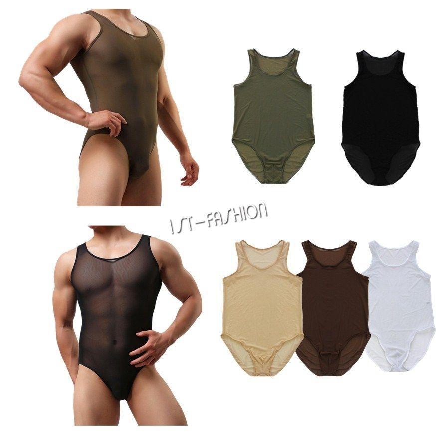 a2da617088 Men s One Piece Soft Mesh Bodysuit Leotard Wrestling Vest Jumpsuit Underwear   Fashion  1pcMensMeshThongLeotard  GymnasticsDancewearSwimmingSportsCasual