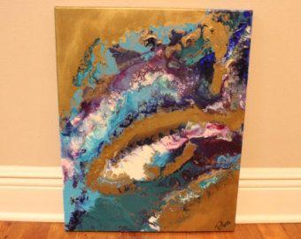 Island 16 X 20 Rectangular Acrylic Flowy Dripped Textured