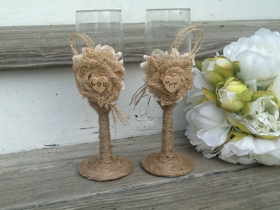 Personalized Rustic Wedding Gles Mr And Mrs Toasting Flutes Burlap Bride Groom