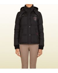 53f5817a7 Gucci | Black Down Jacket With Crest From Equestrian Collection | Lyst