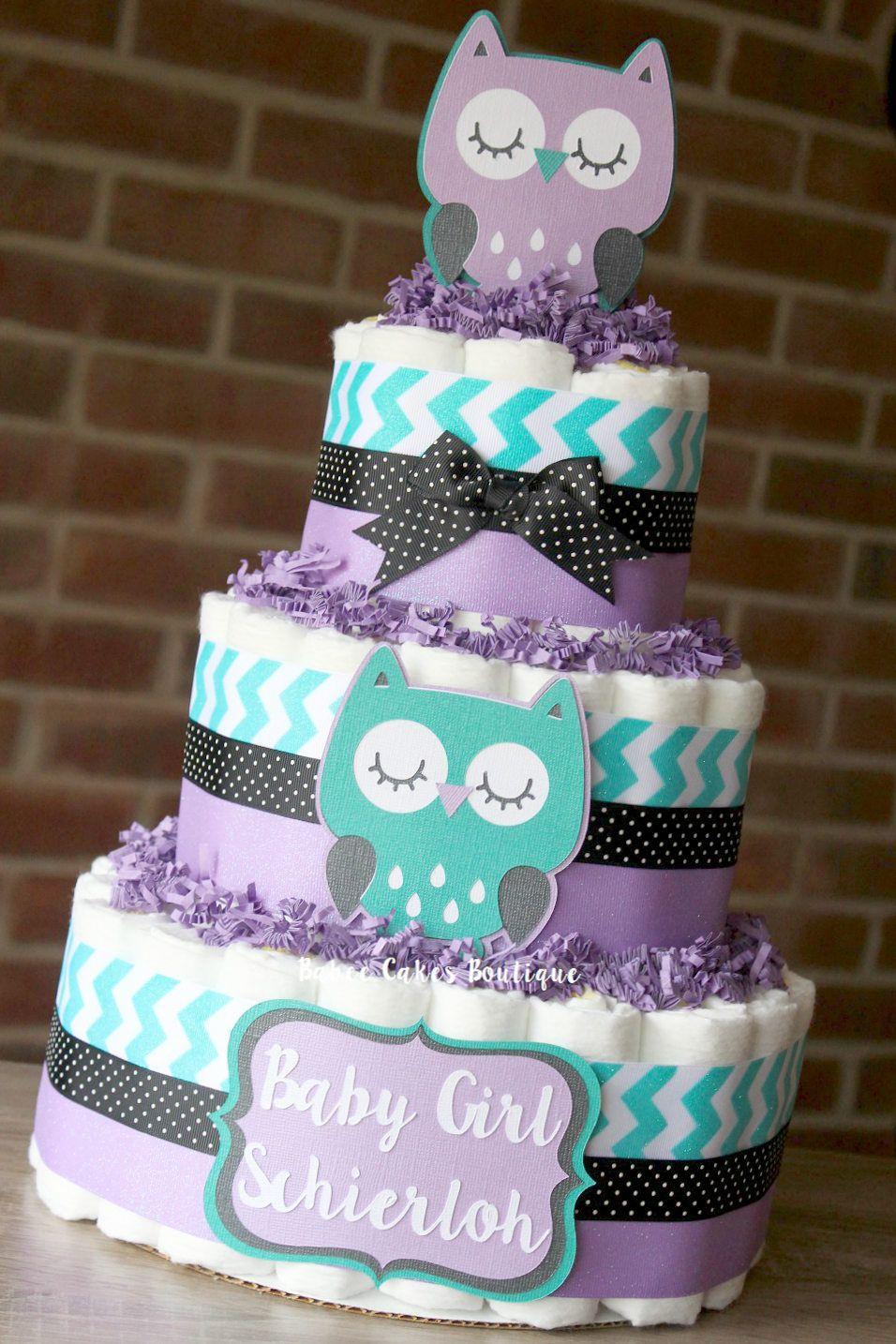 3 Tier Purple Teal and Black Owl Mini Diaper Cakes Girls Owl