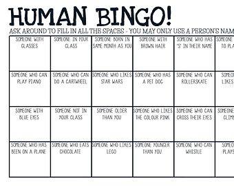 Human Bingo Ice Breaker Template  Sept Ideas    Human