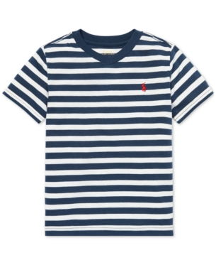 a46799609c3a Polo Ralph Lauren Toddler Boys Striped V-Neck T-Shirt - Blue Eclipse ...
